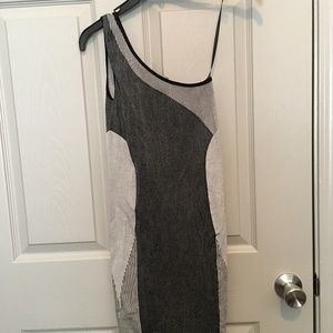 Bebe  one shoulder grey and black dress